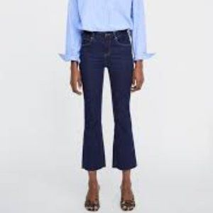 New Zara dark wash mini flare jeans raw hem size 2